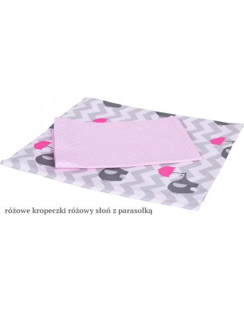 MD Pościel 5-elementowa drukowana Różowy Słoń z parasolką Różowe kropeczki