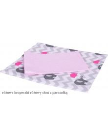 MD Pościel 6-elementowa drukowana Różowy Słoń z parasolką Różowe kropeczki