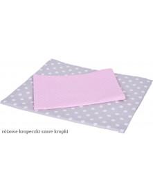 MD Pościel 3-elementowa drukowana Szare kropki Różowe kropeczki