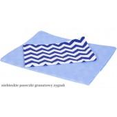 MD Pościel 3-elementowa drukowana Niebieskie paseczki Granatowy zygzak