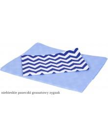 MD Pościel 6-elementowa drukowana Niebieskie paseczki Granatowy zygzak