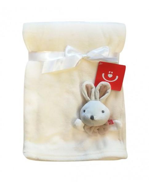 Bobobaby Kocyk poliestrowy z aplikacją 76x102cm KCSN-15 ecru królik