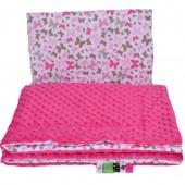 Małe Duże poduszka do łóżeczka Minky 40x60cm Fuksja Minky Motylki