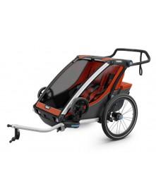 THULE Przyczepka rowerowa dla dziecka podwójna Chariot Cross 2 Czerwono-szara