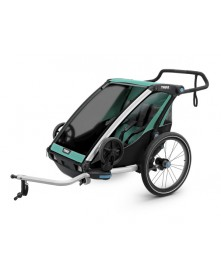 Przyczepka rowerowa dla dziecka podwójna THULE Chariot Lite 2 morska czarna