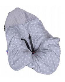 Małe Duże Kocyk bez wypełnienia do nosidełka 0-13 kg Lato 1 szare + szare gwiazdk
