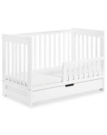 Klupś łóżeczko IWO z szufladą i barierką biały 120x60cm