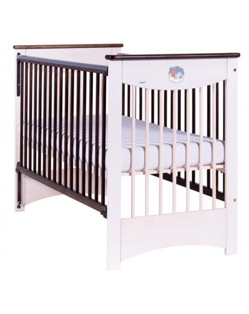 Drewex łóżeczko Mocca opuszczany bok biały transparent/czekolada120x60cm
