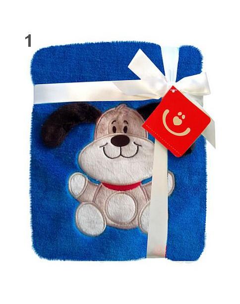 Bobobaby Kocyk exclusive baby z aplikacją 76x102cm KCSN-08 1 - niebieski piesek