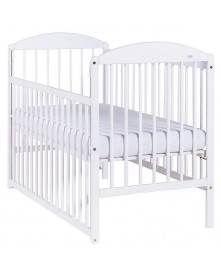 Drewex łóżeczko drewniane z opuszczanym bokiem Kuba II Sosna, Białe, Biały Transparent 120x60cm