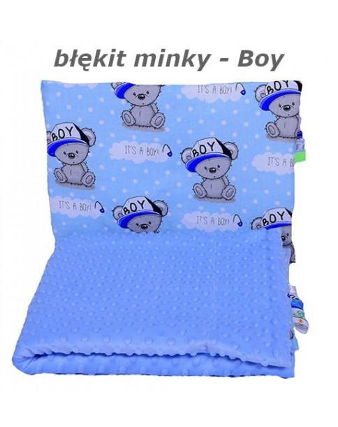 Małe Duże kocyk 100x135 Jesień Błękit Minky Boy