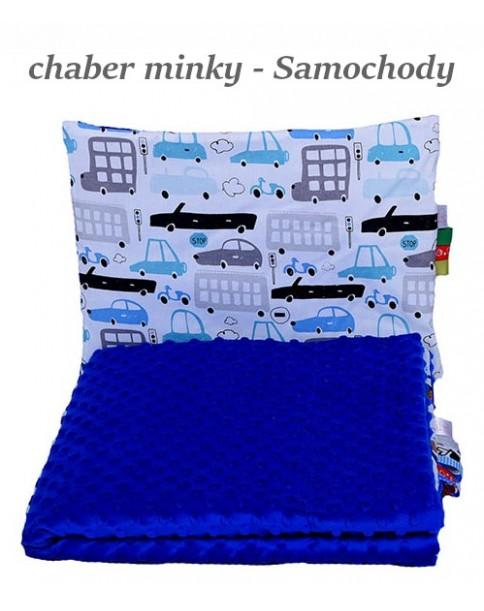 Małe Duże kocyk 100x135 Jesień Chaber Minky Samochody