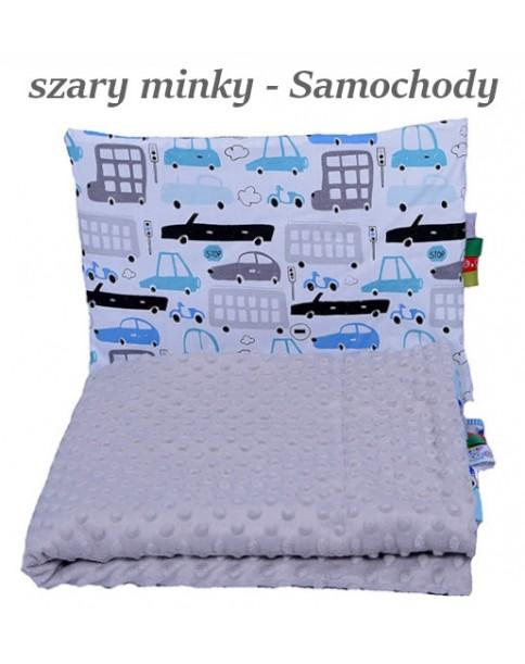 Małe Duże kocyk 100x135 Jesień Szare Minky Samochody
