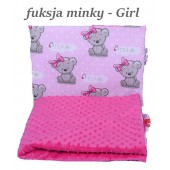 Małe Duże kocyk 100x135 Jesień Fuksja Minky Girl