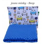 Małe Duże kocyk Minky 100x135cm Zima Jeans Minky Beep