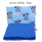 Małe Duże kocyk Minky 100x135cm Zima Jeans Minky Boy
