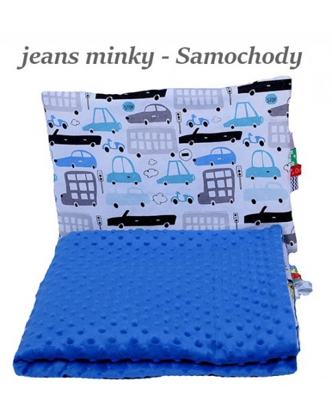 Małe Duże kocyk Minky 100x135cm Zima Jeans Minky Samochody