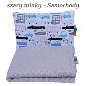 Małe Duże kocyk Minky 100x135cm Zima Szare Minky Samochody