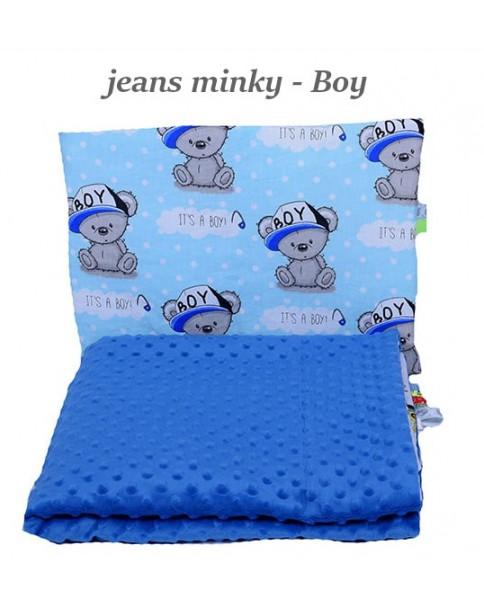 Małe Duże kocyk Minky 75x100cm Lato Jeans Minky Boy