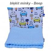 Małe Duże kocyk Minky 75x100cm Jesień Błękit Minky Beep
