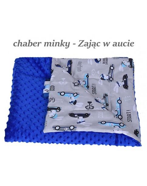 Małe Duże kocyk Minky 75x100cm Jesień Chaber Minky Zając w aucie
