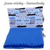 Małe Duże kocyk Minky 75x100cm Jesień Jeans Minky Samochody