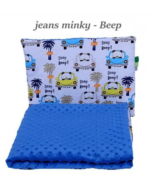 Małe Duże kocyk Minky 75x100cm Zima Jeans Minky Beep