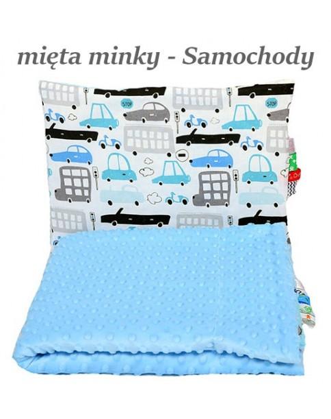 Małe Duże kocyk Minky 75x100cm Zima Mięta Minky Samochody