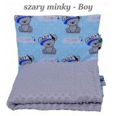 Małe Duże kocyk Minky 75x100cm Zima Szare Minky Boy