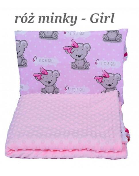 Małe Duże kocyk Minky 75x100cm Zima Róż Minky Girl