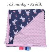 Małe Duże kocyk Minky 75x100cm Zima Róż Minky Królik