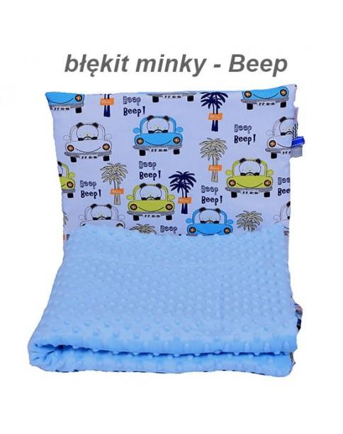 Małe Duże poduszka do łóżeczka Minky 40x60cm Błękit Minky Beep