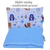 Małe Duże poduszka do łóżeczka Minky 40x60cm Błękit Minky Niedźwiedź Granat