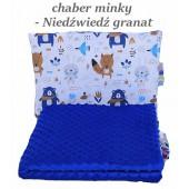 Małe Duże poduszka do łóżeczka Minky 40x60cm Chaber Minky Niedźwiedź Granat