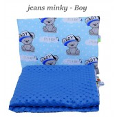 Małe Duże poduszka do łóżeczka Minky 40x60cm Jeans Minky Boy