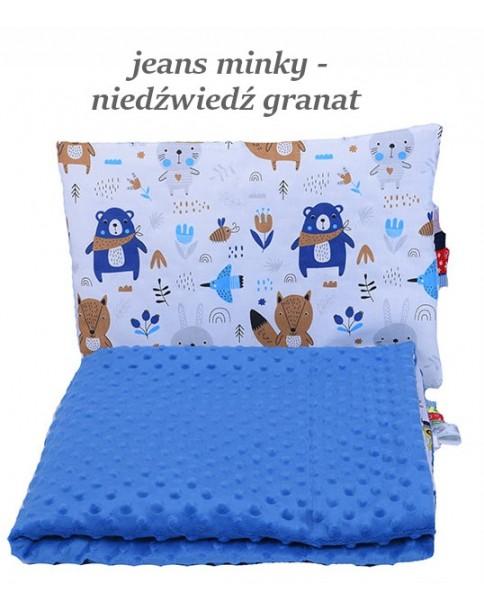 Małe Duże poduszka do łóżeczka Minky 40x60cm Jeans Minky Niedźwiedź Granat