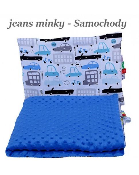 Małe Duże poduszka do łóżeczka Minky 40x60cm Jeans Minky Samochody
