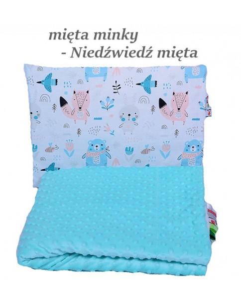 Małe Duże poduszka do łóżeczka Minky 40x60cm Mięta Minky Niedźwiedź Mięta