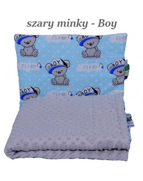 Małe Duże poduszka do łóżeczka Minky 40x60cm Szare Minky Boy
