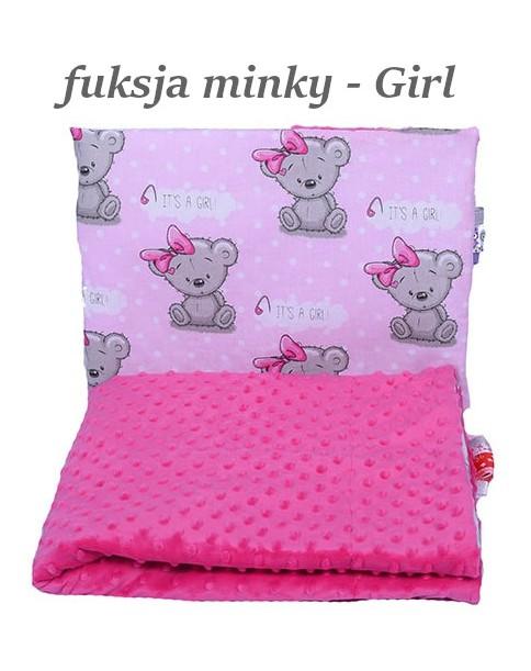 Małe Duże poduszka do łóżeczka Minky 40x60cm Fuksja Minky Girl