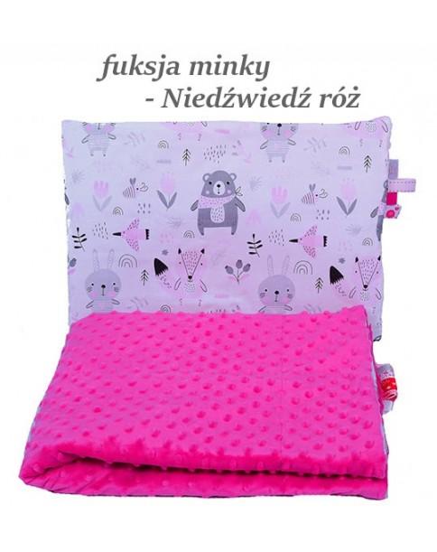 Małe Duże poduszka do łóżeczka Minky 40x60cm Fuksja Minky Niedźwiedź Róż