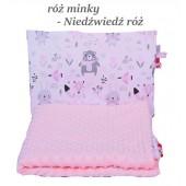 Małe Duże poduszka do łóżeczka Minky 40x60cm Róż Minky Niedźwiedź Róż