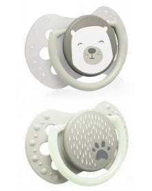 LOVI Smoczek silikonowy dynamiczny MINI 0-2m 2szt Buddy Bear 22/862